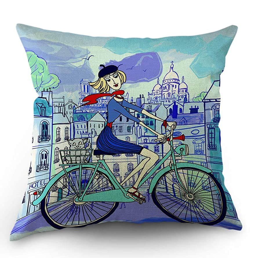 Moslion Paris Pillow Case French Cute Girl Hat Cat on Bicycle in Paris Street Throw Pillow Cover 18x18 Inch Cotton Linen Canvas Decorative Square Cushion Cover Happy Father's Day Sofa Bed Blue