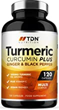 Turmeric Capsules High Strength 1800mg with Black Pepper, Ginger and Vitamin C - 120 Capsules - Premium Grade Turmeric Cur...