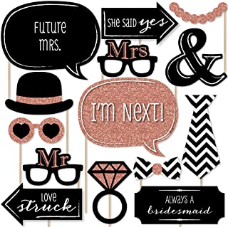 Big Dot of Happiness Rose Gold Bridal Shower - Photo Booth Props Kit - 20 Count