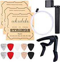 Ukulele Strings, Yoklili 5 Sets of Nylon Ukulele Strings with 10 Felt Picks, String Winder for Soprano (21 Inch) Concert (23 Inch) Tenor (26 Inch) Ukulele, and Bonus Capo included (White)