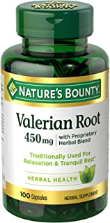 Nature's Bounty Valerian Root Pills and Herbal Health Supplement, Promotes Relaxation, 450mg, 100 Capsules