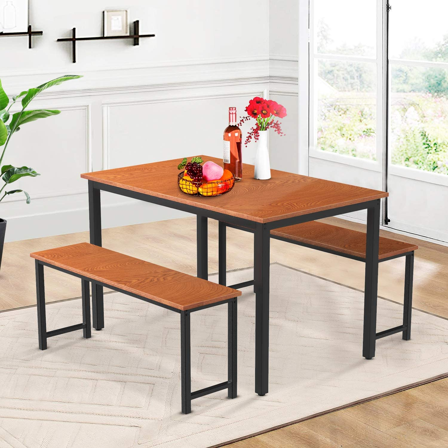 Pumpumly Dining Room 3 Pieces Set Kitchen Farmhouse with Table Albuquerque Los Angeles Mall Mall