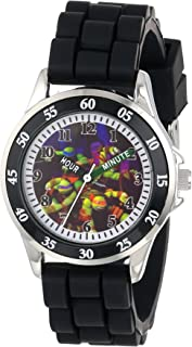 Ninja Turtles Kids' Analog Watch with Silver-Tone Casing, Black Bezel, Black Strap - Official TMNT Characters on The Dial, Time-Teacher Watch, Safe for Children - Model: TMN9013