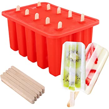 Nuovoware Ice Pop Molds, [Cavity of 10] Food Grade Silicone Frozen Ice Popsicle Makers with 100 Sticks, BPA Free, Kitchen Tools, Red