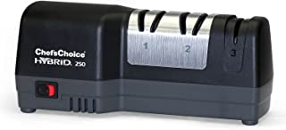 Chef'sChoice 0250109 250 Diamond Hone Hybrid Combines Electric and Manual Sharpening for Straight and Serrated 20-Degree Knives, 3-Stage, Black