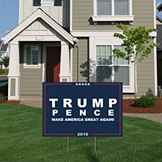 BuildASign 2016 Trump Pence Official Campaign Logo Political Yard Sign with Ground Stake Navy - 12