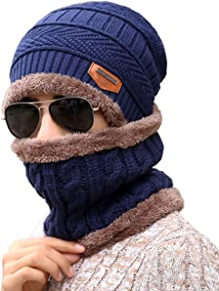 Unisex Beanie Skull Cap Hat Scarf Set Fleece Lining Knitted Winter Warm Thick Knit Slouchy Snowboarding