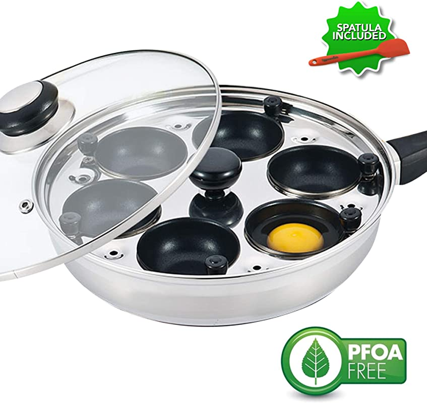 Eggssentials Poached Egg Maker Nonstick 6 Egg Poaching Cups Stainless Steel Egg Poacher Pan FDA Certified Food Grade Safe PFOA Free With Bonus Spatula