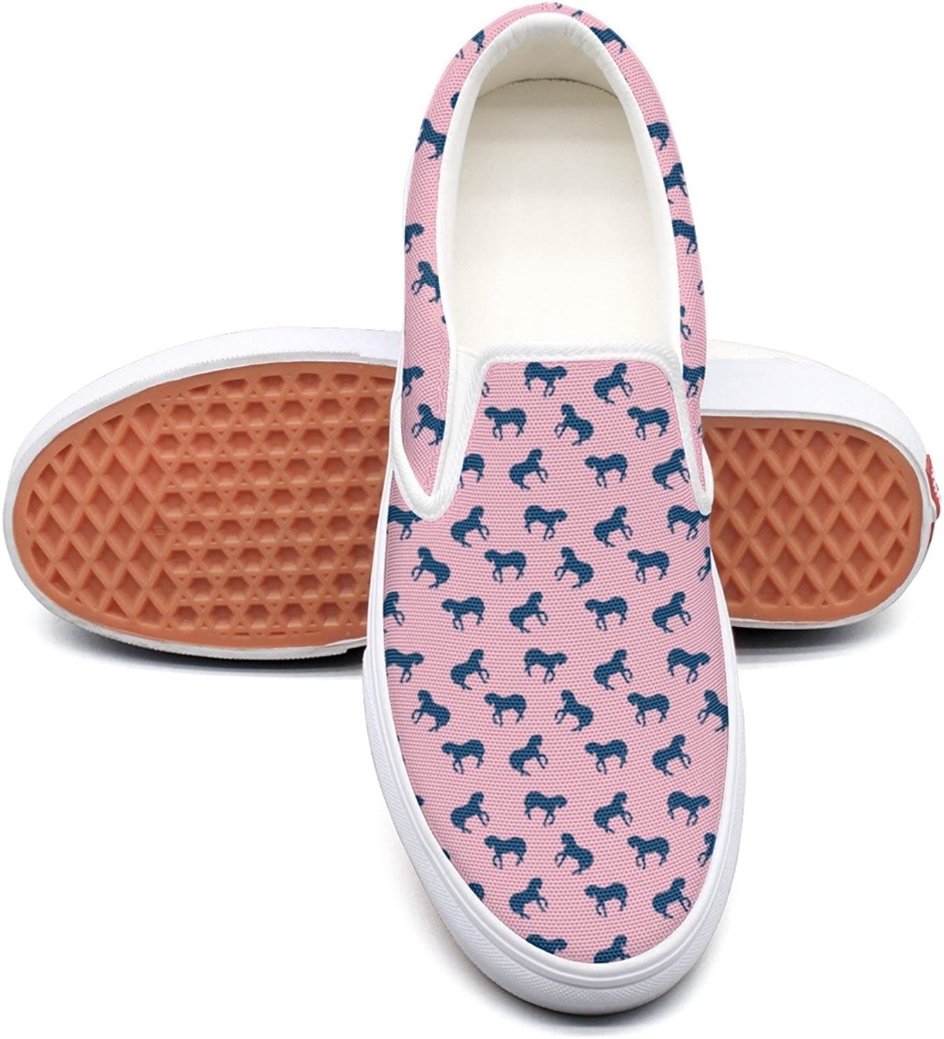 Lalige The Horse To Go For A Walk In Women Vintage Canvas Slip-on Sneakers