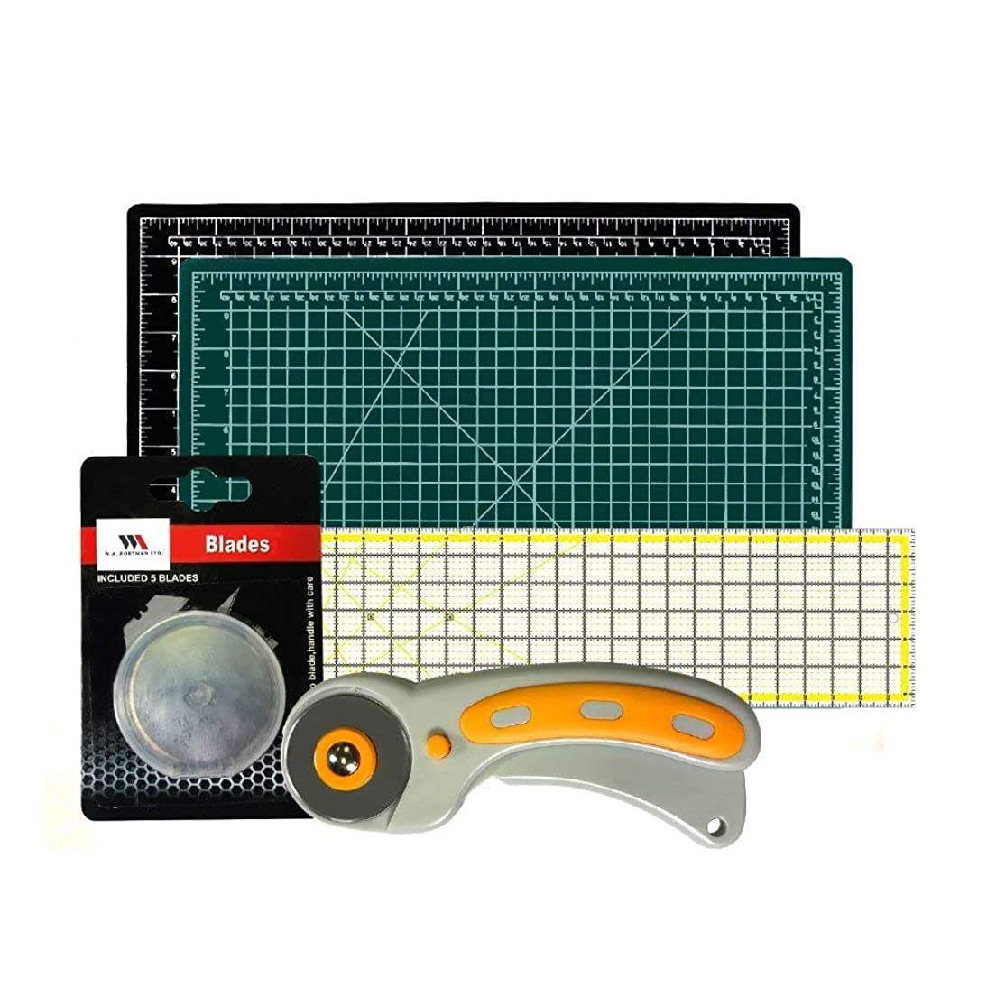 Rotary Cutter with Self Healing Mat &Quilting Ruler –Professional Quilting & Sewing Set (12x18)