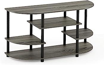 Furinno JAYA Simple Design Corner TV Stand, French Oak Grey/Black