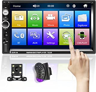 $57 » Double Din Car Stereo with Bluetooth and Backup Camera 7 inch HD Touchscreen Multimedia Car Audio Receivers Support FM USB...