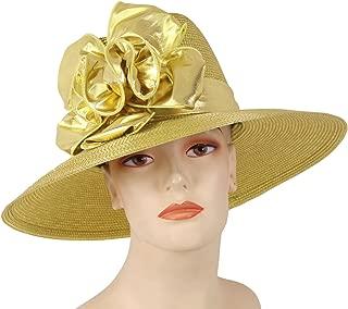Women's Metallic Straw Large Brim Church Dress Formal Hats #3906