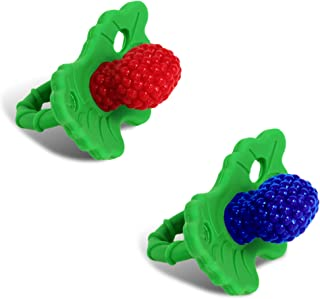 RaZbaby RaZberry Silicone Baby Teether Toy (2-Pack) - Berrybumps Soothe Babies Sore Gums - Infant Teething Toy - Hands Free Design - BPA Free - Easy-to-Hold Design - Teething Relief Pacifier Red&Blue