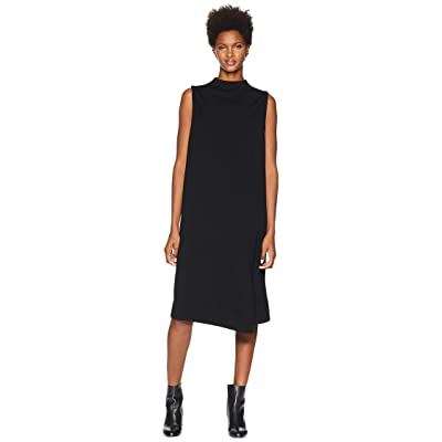 Eileen Fisher Tencel Ponte Mock Neck Wrap Dress (Black) Women