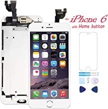 Pre-Assembled for iPhone 6 Screen Replacement with Home Button 4.7 Inch LCD Touch Digitizer Display with Front Camera, Ear Speaker, Facing Proximity Sensor, Repair Tools A1549 A1586 A1589 (White)