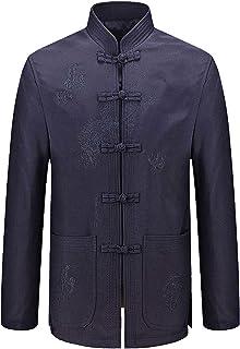 Men T-Shirt With Tongue Chinese Fashion Ancient Traditional Chinese Clothing Tai Chi Kung-Fu Costumes Cotton Jacket Mornin...
