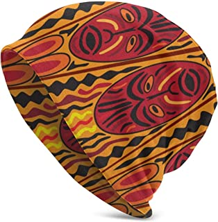 Ethnic Tribal African Mask Slouchy Knit Cuffed Beanie Hat for Men Women Winter Ski Skull Cap Black
