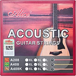 Alice Acoustic Guitar Strings .011-.052 Super Light Tension Copper Alloy Winding with Phosphor Bronze Color Coating, 2 Sets