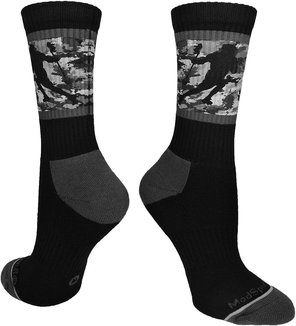 MadSportsStuff Lacrosse Socks with Player on Camo Background Crew Socks (Multiple Colors)
