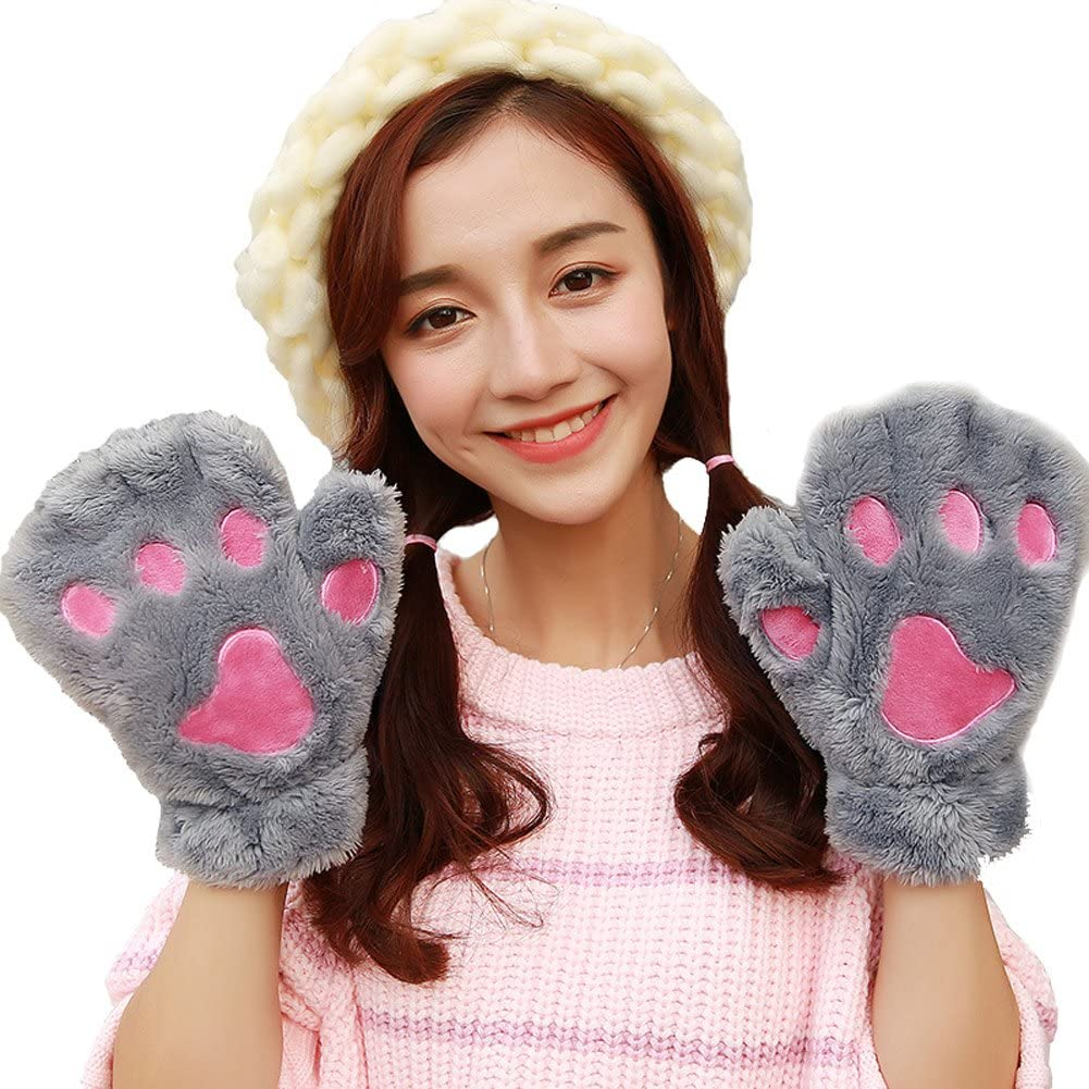 Women Winter Cute Fluffy Bear Plush Cat Paw Claw Gloves Soft fingered gloves Mittens Cosplay Costume