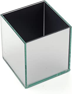 The Modern Decors 4 inches Tall Silver Square Glass Vase Cube, Perfect for Floral Arrangements in Weddings Events and Home Decor, Sold Individually (Clear)