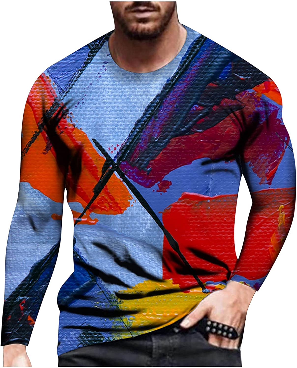Bravetoshop Men's T-Shirts,3D Printed Novelty Graphic Tee Tops O-Neck Long Sleeve Street Fashion Shirt for Men