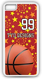 iPhone 8 Basketball Case Fits iPhone 8 or iPhone 7 Make A Custom Design Tough Cell Phone Case with Any Jersey Number Team Name in White Plastic Black Rubber BK1019 by TYD Designs