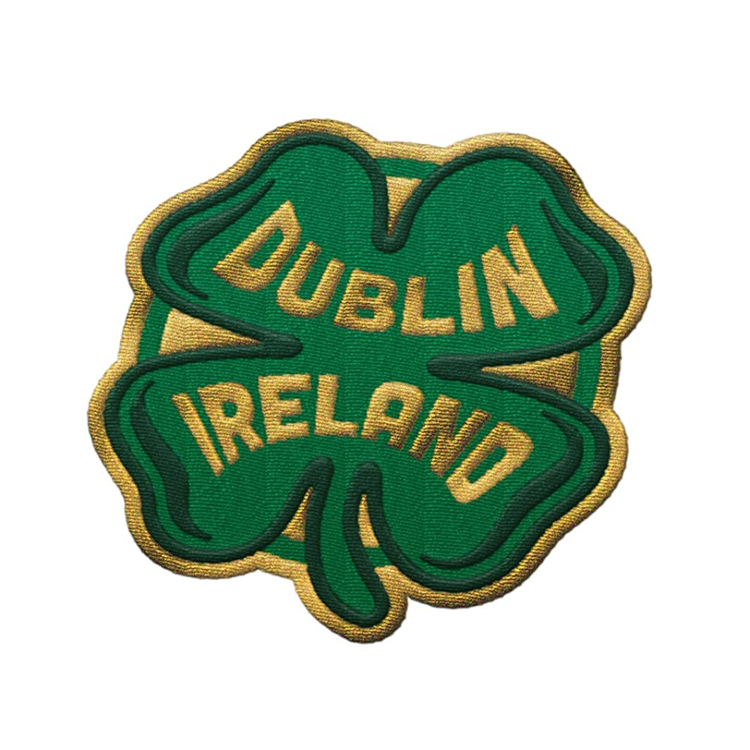 VAGABOND HEART Dublin Ireland Travel Patch - Green Shamrock Design/Great Souvenir for Backpacks and Luggage/Backpacking and Travelling Badge
