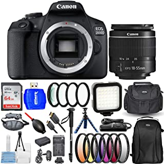 Canon EOS 2000D / Rebel T7 with 18-55mm III Lens Bundle Includes: Extra Battery and Travel Charger, 64GB Ultra SD, LED Lig...
