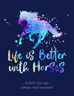 LIFE IS BETTER WITH HORSES: School Notebook for Horse Riding Lover Girls Equestrian Rider Mom - 8.5x11 (Horse Riding Lovers)