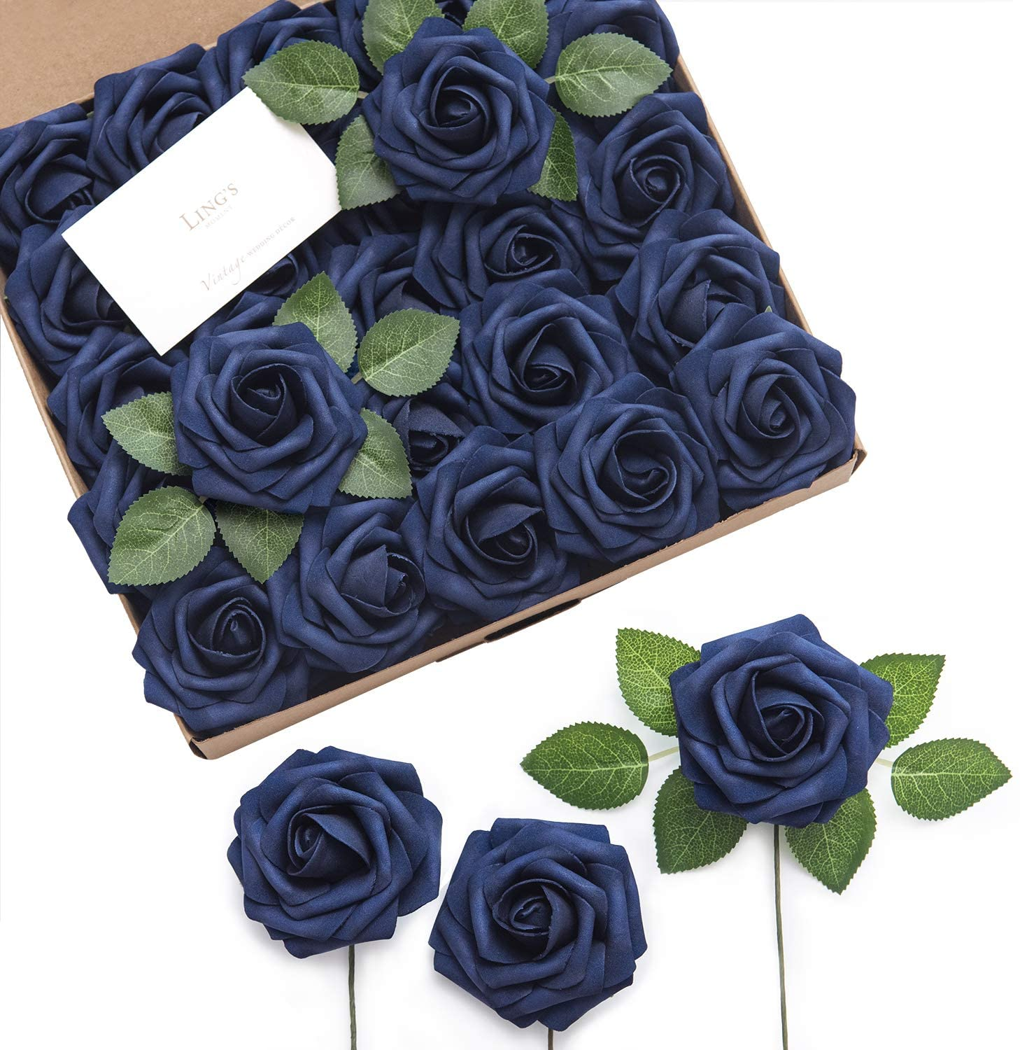Gifts Ling's moment Artificial Rose Ranking integrated 1st place Flowers Navy Blue Roses Foam 50pcs