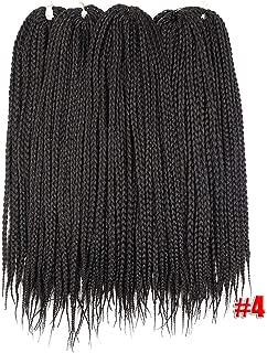 Micro Box Braids Crochet Hair Extensions Ombre Fiber Synthetic Braiding Hair Bulk Crochet Braids,#4,24inches,6 packs