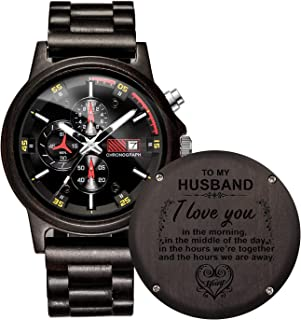 Engraved Wooden Watches Chronograph & Date Dispaly Male Versatile Timepieces Quartz Wood Watch for Son Dad Husband Christmas Birthday
