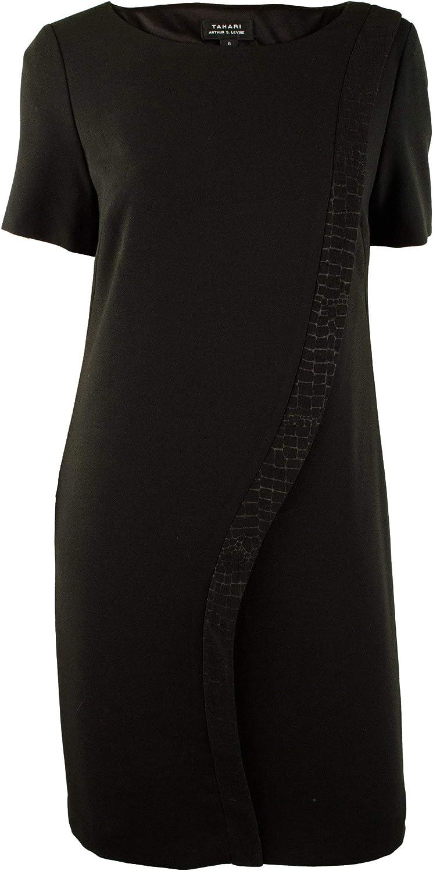 TAHARI by ASL Women's Kevin Embossed Stripe Shift Dress