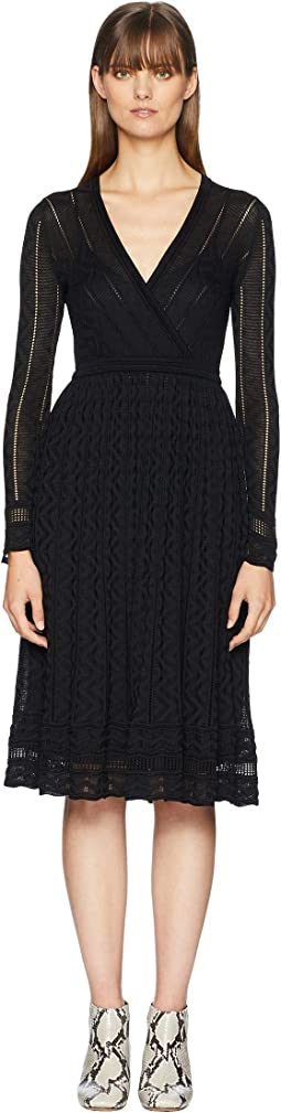 Solid Knit Surplice Long Sleeve Dress