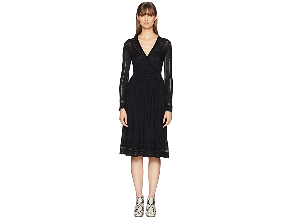 M Missoni Solid Knit Surplice Long Sleeve Dress (Black) Women