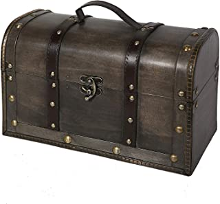 Soul & Lane Katherine Decorative Wooden Trunk Chest with Straps   Storage Treasure Stash Box Old-Fashioned Antique Vintage Style for Keepsake Toys Photos Memories Closet Office Bedroom Decoration