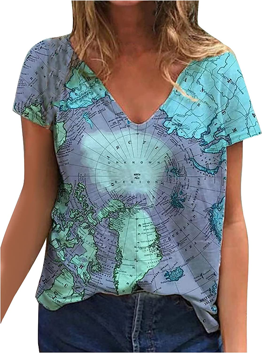 Workout Summer T-Shirts for Women Digital Map Printed Tops V-Neck Graphic Tees Stylish Short Sleeve Blouses