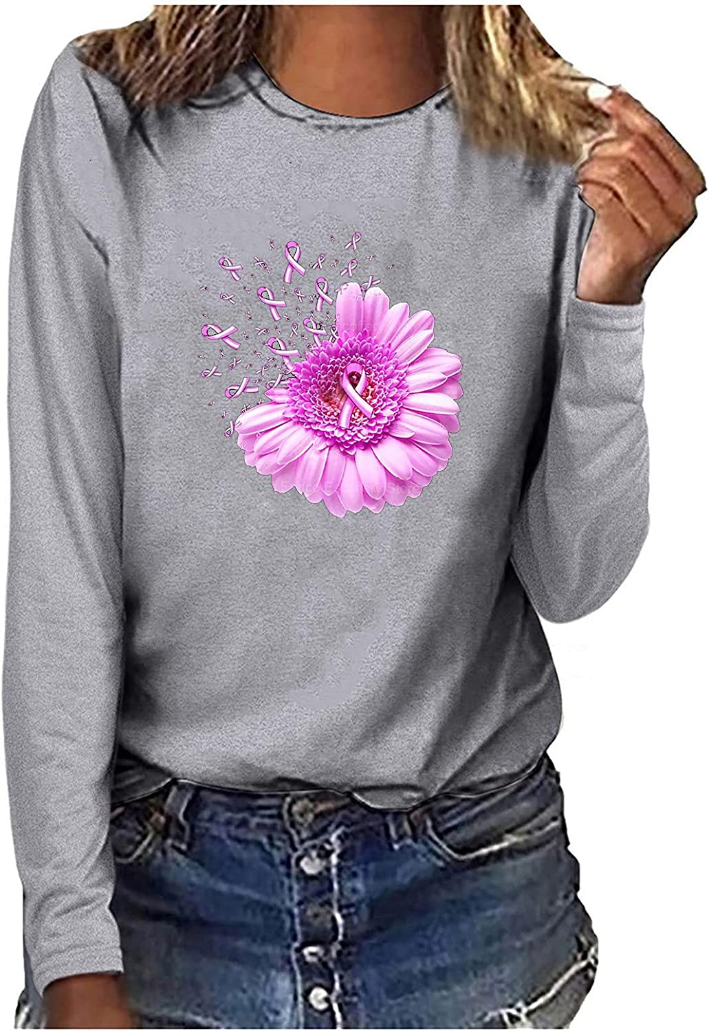Breast Cancer Gifts for Women, Trendy Graphic Tee Long Sleeve Crewneck Tops Casual Loose Fit Shirt Workout Sweatshirt