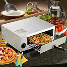 Easy Maker Yummy Pizza at Home with Stainless Electric Pizza Oven Counter-top Stove Appliances Bakers Kitchen Dining Commercial Heavy Duty Remove able Crumb Tray Cool Touch Handle Easy Clean Party Home Outdoor Indoor Utility Cheese Tomato Built-In Temperature Control Easy-Set 30-Minute Timer With Auto Shut-Off