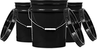 House Naturals Black 5 gal Food Grade Plastic Bucket Pail Container with Lid (Pack of 3)
