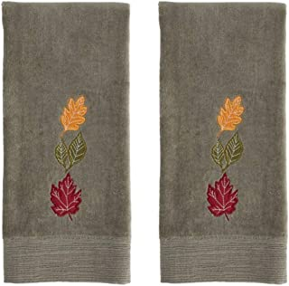 Fall Bathroom Towels - Autumn Bathroom Hand Towels with Maple Leaves - Set of 2