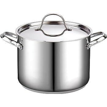 Cooks Standard Classic 02519 Olla de acero inoxidable con tapa, 7.57 L, Plateado, 7.5 l, 1