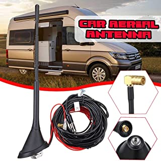 DAB+FM/AM Car Radio Antenna Aerial Amplifier Roof w/ISO to DIN SMA-SMB Adapter