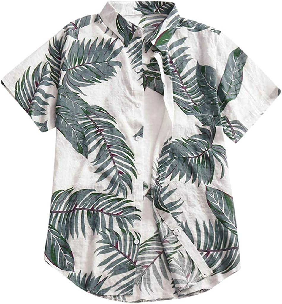 ZZpioneer Mens Plus Size Hawaiian Shirt Casual Button Down Print Beach Short Sleeve Tops