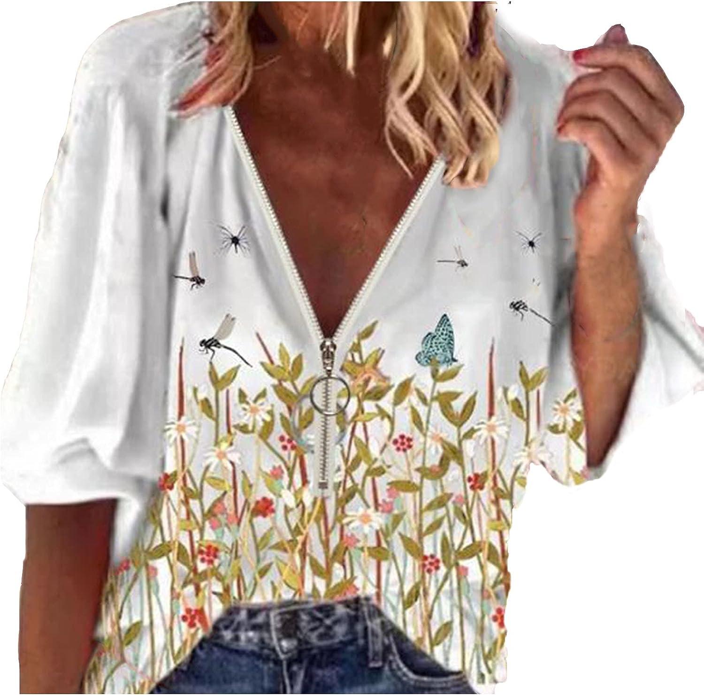 MEIbibibi Deep V Tshirts for Women Autumn 3/4 Sleeve Fashion T-Shirt Zipper Loose Solid Top Blouses