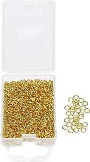 Shapenty 1200PCS Gold Plated Iron Open Jump Rings Connectors Bulk for DIY Craft Earring Necklace Bracelet Pendant Choker J...