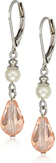 Simulated Pearl And Pink Crystal Drop Earrings