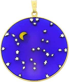 GlassOfVenice Murano Glass Millefiori Pendant Starry Night in Gold-Plated Frame 1-